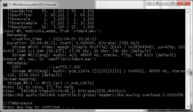 How to batch convert/multiplex any files with ffmpeg