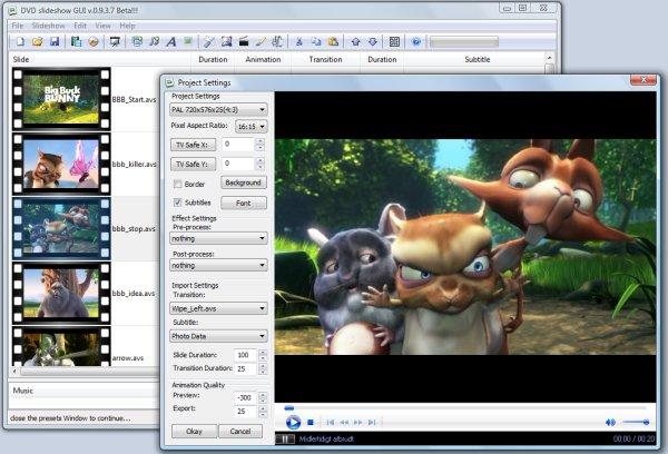 Big Buck Bunny in DVD slideshow GUI