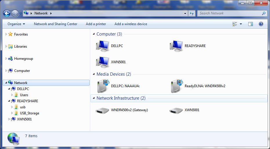 How do I refresh a network \\readyshare\ folder