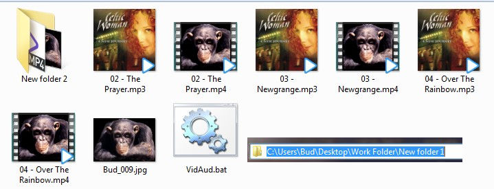 Batch combining multiple audio files with same picture to create mp4