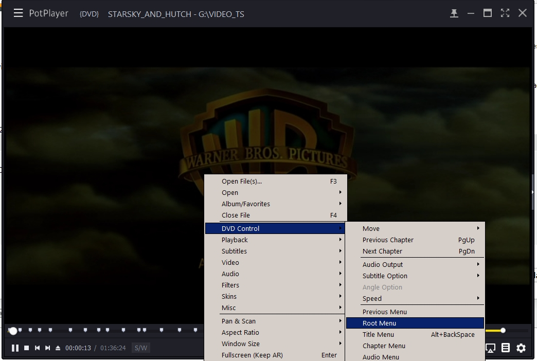 can I start playing DVD in root menu with potplayer