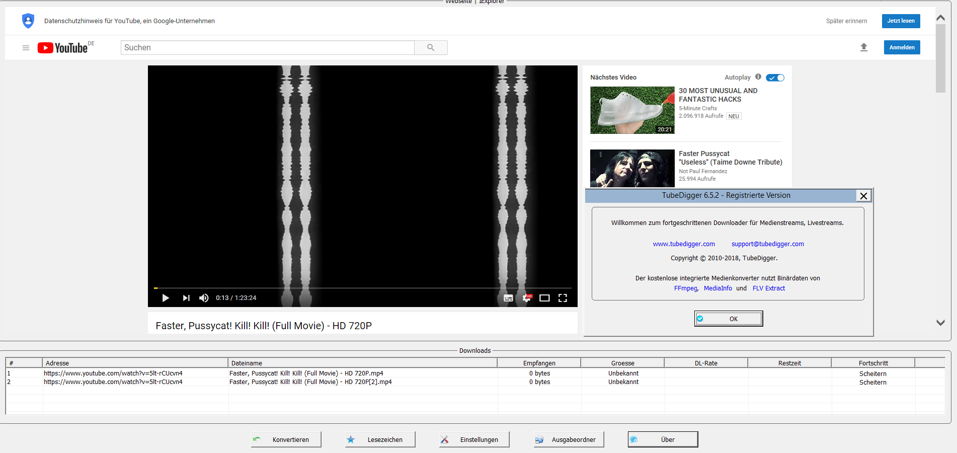 YoutubeVideoDownloader: download video and audio from +900 sites