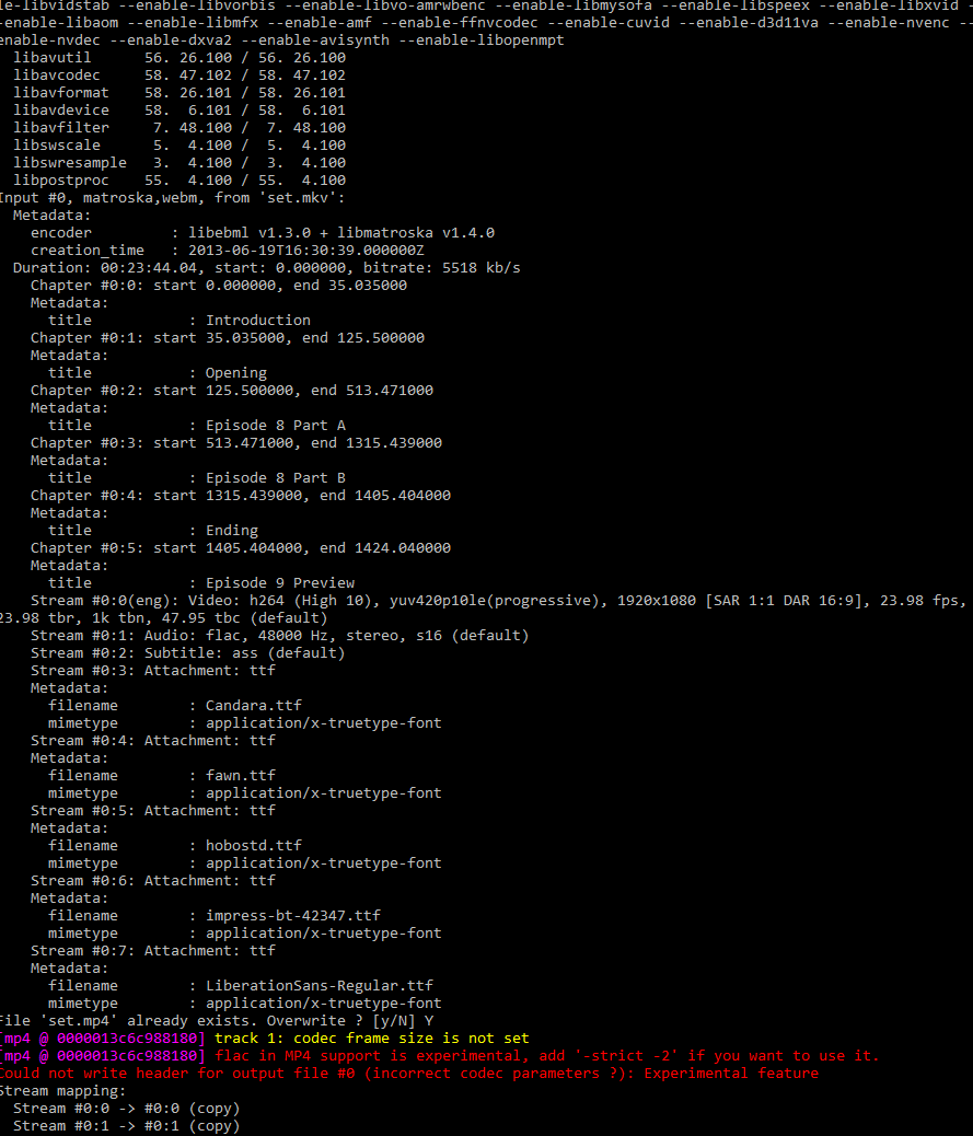 FFMPEG Conversion from MKV to MP4 returns a empty MP4 file