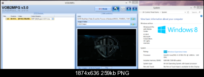 Click image for larger version  Name:Windows 8 Pro running Vob2Mpg.PNG Views:2798 Size:258.5 KB ID:20002