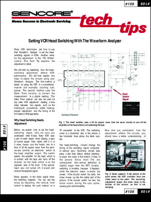 Sencore Tech Tip #108 - Setting VCR Head Switching with the Waveform Analyzer.pdf