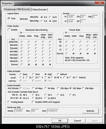 Click image for larger version  Name:Hauppauge Colossus Encoder Settings.jpg Views:2107 Size:163.0 KB ID:30445