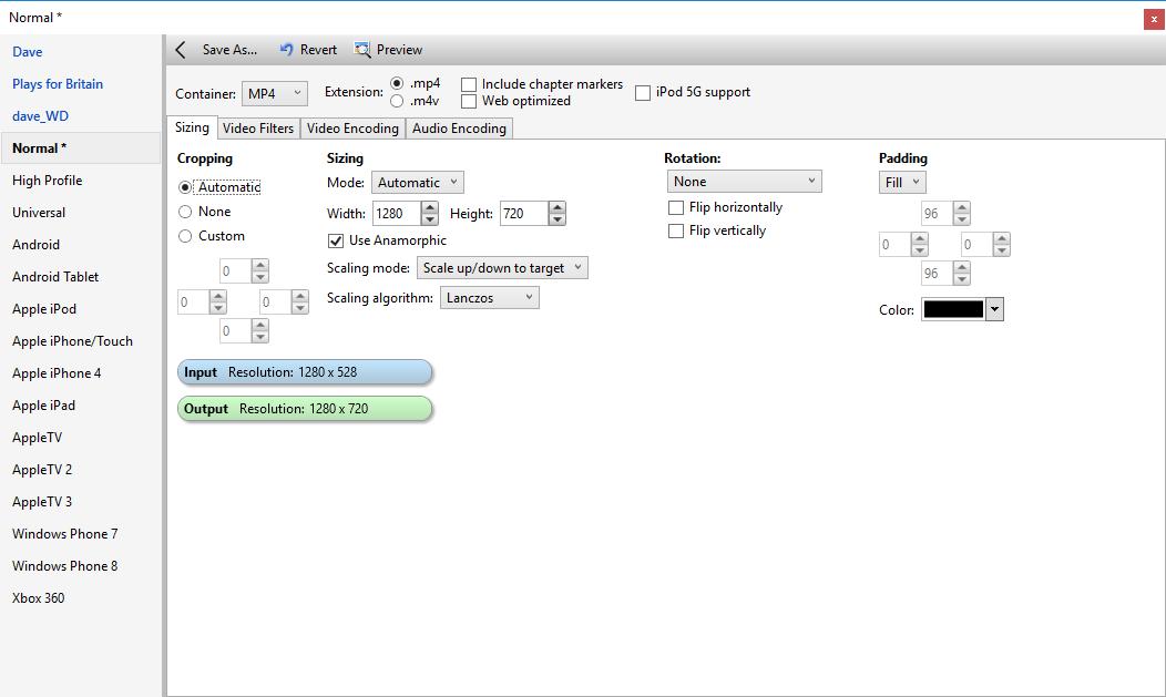 Adding black bars to get 16x9 aspect ratio - VideoHelp Forum