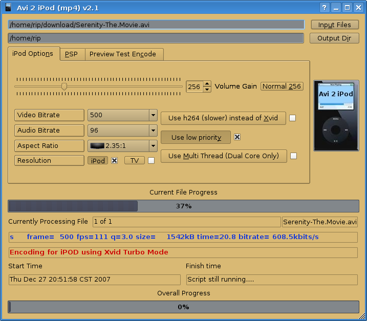 Easy GUI Conversion from Avi 2 MP4 for your video iPod or