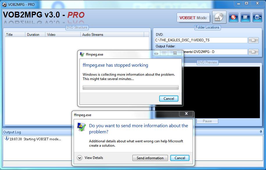 ffmpeg stops working in VOB2DVD - VideoHelp Forum